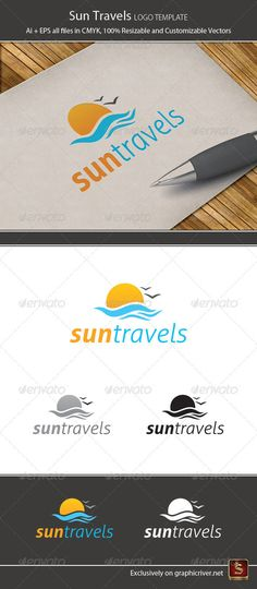 Sun Travels Logo Template — Vector EPS #vacation #beach • Available here → https://graphicriver.net/item/sun-travels-logo-template/1259348?ref=pxcr
