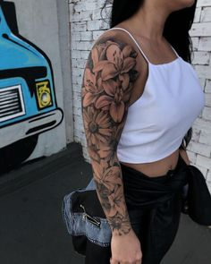 Gorgeous And Stunning Sleeve Floral Tattoo To Make You Stylish; Sleeve Tattoos For Women;