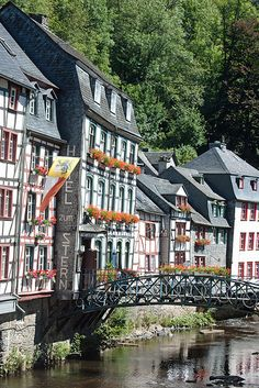 Riverbank Houses, Monschau, Germany.  Such a beautiful town with a wonderful Christmas market.