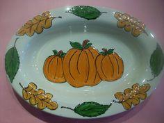 Pumpkin Platter / Paint Your Own Pottery / Kiln Creations, Noblesville, Indiana.  www.kilncreations.net.