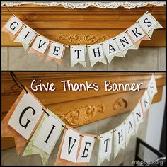 Give Thanks banner - Thanksgiving craft with printable letters