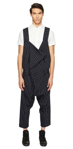 Suit yourself, in style. Forget the bored-room, make it your business to follow your own brilliant beat in the #VivienneWestwood #Suiting #Pinstripe #Overalls. #men #apparel #clothing