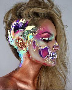 Stunning Make Up – Halloween Make Up Ideas Skull Makeup, Sfx Makeup, Costume Makeup, Dark Makeup, Halloween Looks, Halloween Face Makeup, Halloween Costumes, Halloween Stuff, Halloween Ideas