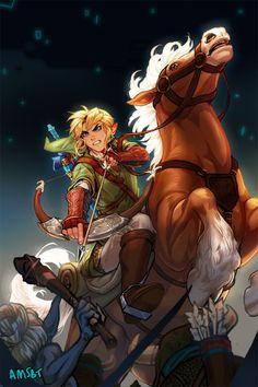 Twilight Princess – Zelda fan art by Amanda Schank  Best Game ever  I really love when Link is riding on Epona