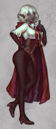 f Drow Elf Rogue Assassin Leather Armor Cloak Poison urban City undercity upper worlder Isobel by naomicoco Elves Fantasy, Fantasy Rpg, Dark Fantasy Art, Fantasy Artwork, Fantasy Fairies, Female Character Design, Character Design Inspiration, Character Art, Elf Characters