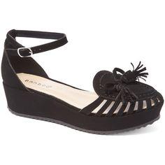 Bamboo Black Tassel Adwin Sandal (£9.71) ❤ liked on Polyvore featuring shoes, sandals, bamboo sandals, black ankle strap shoes, black mid heel sandals, black ankle wrap sandals and ankle tie sandals