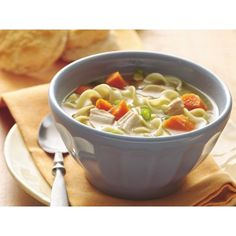 Easy Chicken Noodle Soup ❤ liked on Polyvore featuring food and food and drink