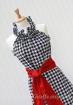 Houndstooth with Crimson sash... another great tailgating dress for the Bama fan
