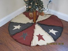 Primitive Raggy Christmas Tree Skirt by kbardo on Etsy, $48.00