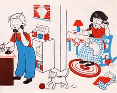 my vintage book collection (in blog form).: Let's Play House - illustrated by Lois Lenski (1944)