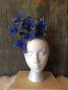 Royal Blue Monarch Butterfly Fascinator by DelfinaCrowns on Etsy Largest Butterfly, Monarch Butterfly, Blue Butterfly, Boho Headpiece, Headdress, Costume Carnaval, Pink Fascinator, Blue Palette, Feather Painting