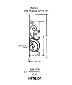 Tuscany Panel Piece D1 Flat Panel, Fits Angles 20° to 48° 10″ wide 42″ tall 1/2″ Square Iron This is the Tuscany D1 wrought iron panel made by Regency Railings. It is a flat panel that fits angles 20° to 48°
