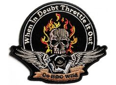 Throttle it Out Skull Engine Small Biker Patch