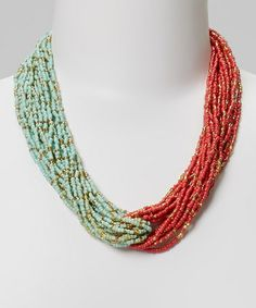 Look what I found on #zulily! Turquoise & Coral Necklace #zulilyfinds