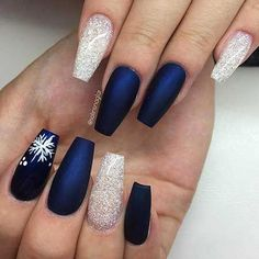 A manicure is a cosmetic elegance therapy for the finger nails and hands. A manicure could deal with just the hands, just the nails, or Holiday Nail Designs, Cute Nail Designs, Acrylic Nail Designs, Pedicure Designs, Acrylic Gel, New Years Nail Designs, Winter Nail Designs, Acrylic Colors, Xmas Nails