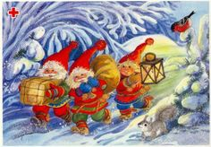 . Vintage Christmas Cards, Christmas Art, Christmas 2017, David The Gnome, Writing Pictures, Elves And Fairies, Old Cartoons, Fairy Land, Photo Postcards
