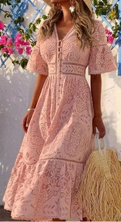Sweet V Neck Hollow Out Single-Breasted Lace Long Dress Bohemian Summer Dresses, Long Summer Dresses, Simple Dresses, Elegant Dresses, Day Dresses, Casual Dresses, Fashion Dresses, Wedding Dresses, Tailored Dresses