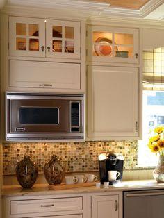 Arts And Craft - kitchen backsplash, lighted cabinets, storage