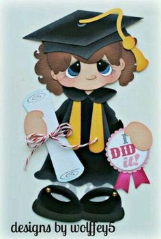 GIRL GRAD paper piecing premade scrapbook page die cut album Graduation Theme, Graduation Cards, Scrapbook Images, Scrapbook Paper, Diy And Crafts, Crafts For Kids, Paper Crafts, Paper Piecing Patterns, Silhouette Cameo Projects