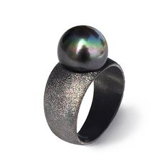 SALE 20% Off - PURE BLACK Pearl Ring, Black Ring Band, Black Silver Ring, Geometric Ring, June Birthstone Ring, Minimal Modern Ring