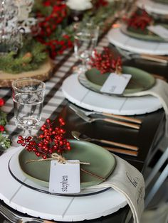 White, green and berries Simple Christmas table setting