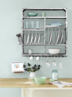 If walls could talk, they'd clamor for this industrial stainless-steel dish drainer, which houses and displays dinnerware while it dries.