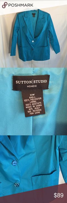 Turquoise light weight jacket 22w NWOT Ladies turquoise 2 front button fitted jacket with great sticking and seaming to slim you down visually. GREAT summer color and perfect for hot weather when u still want a little cover sutton studio  Jackets & Coats Blazers
