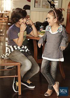 M2A Jeans   Fall Winter 2014   Kids Collection   Outono Inverno 2014   Coleção Infantil   calça jeans infantil masculina; look infantil; vintage; calça jeans infantil feminina; casal de crianças; denim kids.