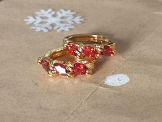 """5/8"""" Red Three Gemstone Huggie Hoop Earrings 9k Yellow Gold Filled Jewelry 18mm #Huggie"""