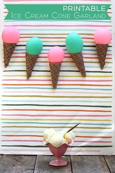 Ice Cream Cone Garland and DIY Printable   Squirrelly Minds