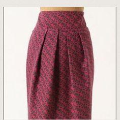 Anthropologie - Paper Bag Skirt Pink/Gray, Funky yet girly patterned paper bag skirt. Gathered at the waist creating an illusion of a smaller waist. I have received so many compliments about this skirt over the years. You're sure to turn heads with this one. 70% Polyester; 30% wool; Lining 100% Polyester. Price is FIRM. Anthropologie Skirts