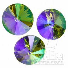 Moss Violet Mist 1122 Rivoli 12 mm | Eureka Crystal Beads  Custom Coatings on Swarovski Crystal are aftermarket finishes