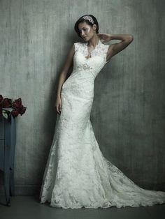 Sheath Sweetheart Long Lace Wedding Dress