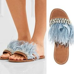 New Arrival Feather Crystal Embellished Summer Women Slipper Girl Lady Home  Flats Bohemia Slides Bling Party 096abc99c9e9