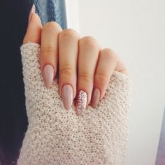 Lovely pink almond nails. Glitter. Fancy. Love them.