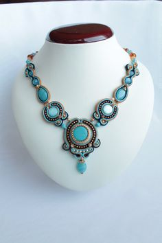 Blue soutache necklace. by SoftAmethyst on Etsy