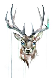 Cerf Aquarelle Aquarelle Art Poster Animal par WatercolorMary