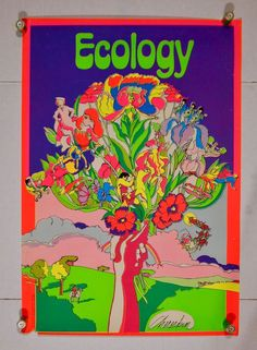 "1970s Dear Love Corp. #539 ""Ecology"" Chereskin Vintage Trippy Black Light Poster"
