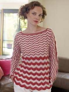 Knit this beautiful striped long sleeved slashed neck tunic. This pattern is for the intermediate knitters and uses the stockinette stitch technique.