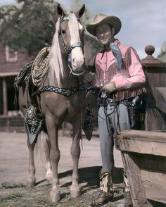 """ROY ROGERS & TRIGGER COUNTRY WESTERN SINGER ACTOR 8x10"""" HAND COLOR TINTED PHOTO"""