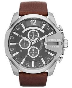 Diesel Men's Chronograph Mega Chief Brown Leather Strap Watch In Brown/ Silver Diesel Watches For Men, Sport Watches, Cool Watches, Men's Watches, Watches Online, Jewelry Watches, Latest Watches, Cheap Watches, Men's Jewelry