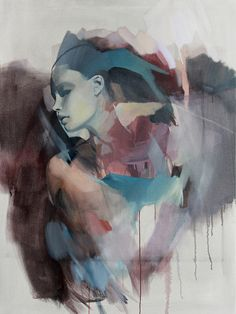 Artist: Rico Blanco {contemporary figurative #expressionist beautiful female woman face profile abstract drips painting} <3 Inspiring !!