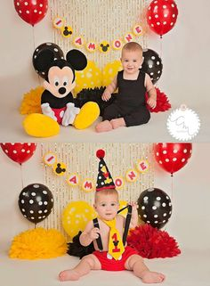 Mickey Mouse 1st Birthday Pom Poms Photo Shoot by SimplyNesting