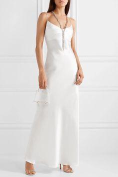White Silk-satin gown | RASARIO | NET-A-PORTER Silk Satin Dress, Silk Chiffon, Satin Dresses, Chiffon Jacket, Fashion Forms, Fashion Ideas, Fashion Inspiration, Models, White Silk