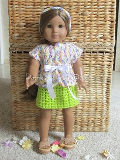 This adorable little two piece set is perfect for the American Girl doll or any 18 inch doll! It features a wrap sweater with a ribbon tie and a coordinating pull on skirt. It's the perfect little career ensemble and the separates can be mixed and matched with other items in the doll's wardrobe.