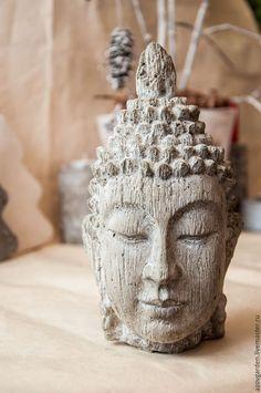Статуэтки ручной работы. Ярмарка Мастеров - ручная работа. Купить Статуэтка Будды из бетона, серая с текстурой дерева. Handmade. Серый
