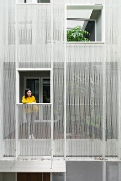 house w taipei taiwan townhouse kc design studio air light plants structural glass semi transparent metal mesh facade trend industrial look concrete architecture interior. Facade Design, Exterior Design, Atrium Design, Design Loft, Studio Design, Blog Design, Design Design, Design Ideas, Facade Lighting