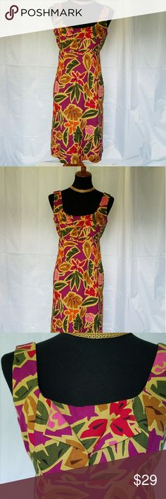 """TALBOTS PURPLE ORANGE BLACK GREEN EXOTIC DRESS 8 P EXOTIC COLORFUL LINEN BLEND DRESS FROM TALBOTS. It is has an empire waist with an A-line skirt. The dress has a deep scoop front and back necklines. Armpit to armpit is 17.25"""" and shoulder to hem length is 39"""". All measurements are approximate and taken flat. Size 8 P. Talbots Dresses Midi"""