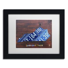 Kentucky License Plate Map by Design Turnpike Framed Graphic Art