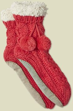 Womens rose madder cable chunky slipper sock from White Stuff - £25 at ClothingByColour.com